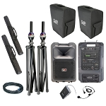 Sound Projections SM-4neo Deluxe body-pack, headset, and CD/MP3 package with companion spkr.