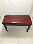 Red Padded Piano Bench in Mahogany Finish
