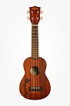 Kala Satin Mahogany Soprano w/ Hawaiian Islands and Tattoo