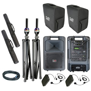 Sound Projections SM-5 Deluxe with (2) wireless headset, and CD/MP3 package  w/companion speaker